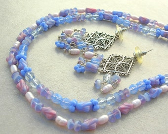 2 Necklaces, Blue & Pink Vintage Glass Beads, 2016 Pantone Colors, 1 Pair of Gorgeous Earrings, Complete Set by SandraDesigns
