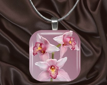 Pink Orchid Glass tile Pendant with chain(CuFl24.4)