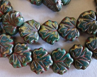 Czech Persian Green Picasso Glass Maple Leaf Beads  11x13mm (20)  0267-P