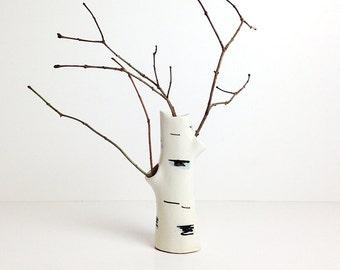 Vintage Vase with Birch Tree decor / Soviet pottery / USSR 50s 60s