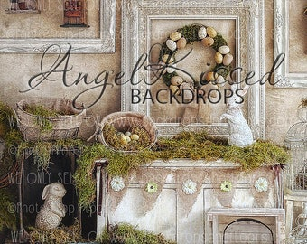 Rustic Easter Spring Photography Backdrop, Moss, Greenery, Bunny, Shabby Chic, frames, crates, wreath, Angel Kissed, 60x80 fleece, Studio