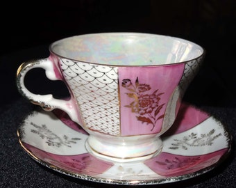 Tea Cup with Saucer Lusterware with Pink and Gold Leaf China Home and Garden Kitchen and Dining Tableware Drinkware Coffee and Tea Cups