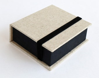 Instax Square SQ Photo Box | Display Box | Handmade using imported bookcloth |  Graduation Gift | Keepsake Album | Beige and black