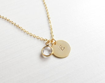 Personalized Gold Charm Necklace | Gold Initial Necklace | Gold Monogram Necklace | Layering Necklace | Bridesmaids Necklace | Gift Idea