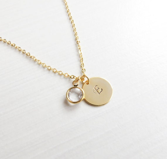 Personalized Gold Birthstone and Initial Charm Necklace