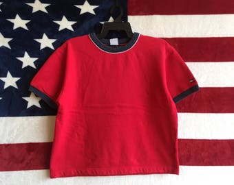Vintage 90s Tommy Hilfiger Sweater Pullover Plain Red Design Colour Small Logo Sweatshirt Tommy hilfiger Womens Shirt Medium Size