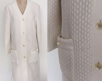 1970's White Woven Cardigan Dress by Fred Rothschild Size Large by Maeberry Vintage