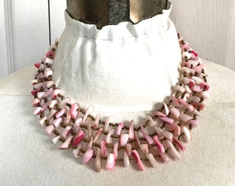 Carved pink MOP Necklace . Carved Mother of Pearl . 5 strand necklace . beach wedding  . Japan