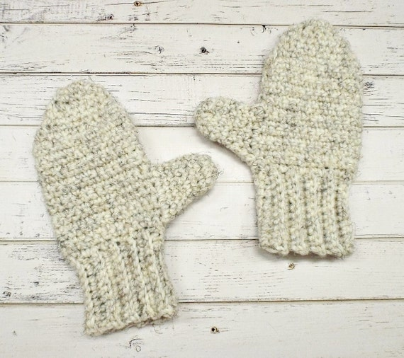 Crocheted Mittens - Adult Mittens in Wheat Cream Tweed - Winter Accessories Crochet Accessories Warm Winter Mittens - 10 Color Choices