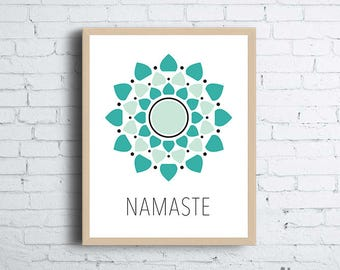 Mandala, Namaste Teal Printable Wall Art |  Yoga Printable Wall Decor | Print at Home Wall Art | Yogi Printable Wall Decor