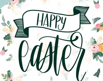 Happy Easter -Floral Print     8.5x11