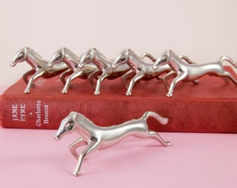 French Silver Plated Wild Horses or Mustang Knife Rests - Set of Six
