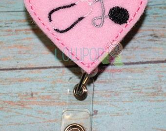 Pink Heart Stethoscope Badge Reel ~ Badge Reel ~ Nurse Badge Reel ~ Badge ID Holder