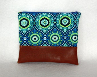 Zipper Pouch with Vinyl Accent - Amy Butler Cotton and Brown Vinyl