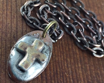 Mens Cross Necklace, Mens Necklace, Religious Necklace, Gift Idea for Athlete, Cross Charm Necklace, Father's Day Gift