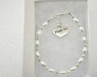 Flower Girl Bracelets, Bridesmaids Gifts, Maid of Honour Honor Jewellery, Wedding Bridal Jewellery