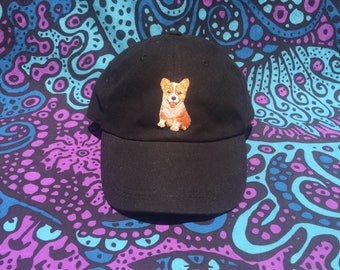 Embroidered Corgi Patch Baseball Cap - Hat - Black