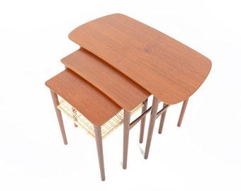 Set of Danish Modern Atomic Mid Century Teak + Cane Nesting Tables