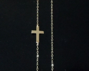 Sideways Cross Necklace - 14kt Gold Filled - As Seen On Taylor Jacobson Off Center