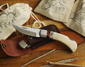 Groomsmen White Bone Handle Knife with Flat Leather Sheath - Personalized Groomsmen Knives - Best Man Gifts - Quality Lock Back Knife