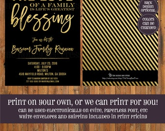 Family Reunion Invitation - Love of Family is the Greatest Blessing - Greatest Blessing family reunion invite - gold and black - Item 0418