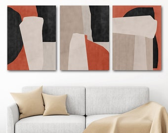 Abstract Wall Art Set Of 3 Prints Abstract Modern Art Downloadable Poster Red Black Printable Art Textured Wall Art Dining Room Concept Art
