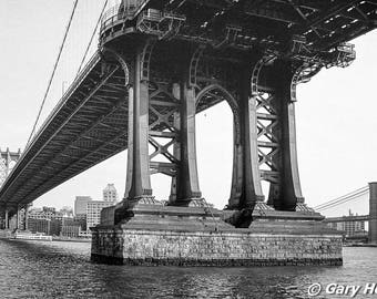Manhattan Bridge Brooklyn Industrial Art, East river, Brooklyn Bridge in the background, Black and White Urban Art Photography, Urban Chic