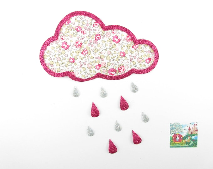 Applied fusing cloud fabric liberty Eloise flex pink glittery patch liberty fusible iron-on applique patch motif