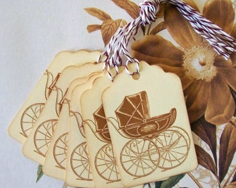 Tag Baby Shower Vintage Style Pram Wish Tree Tags Party Favor Treat Bag Tags TB011