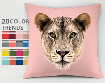 Leones pillow case Cushion case Decorative pillow Throw pillow cover Animal pillow Leones Cushion country house pillow pet lover gift