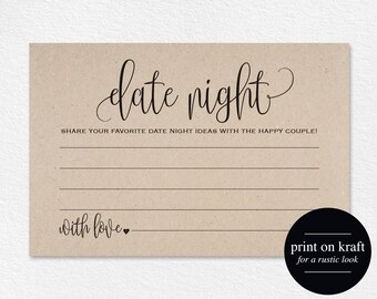 Date Night Cards, Date Night Ideas, Date Jar, Wedding Advice Card, Marriage Advice, Wedding Advice Template, PDF Instant Download #BPB203_16