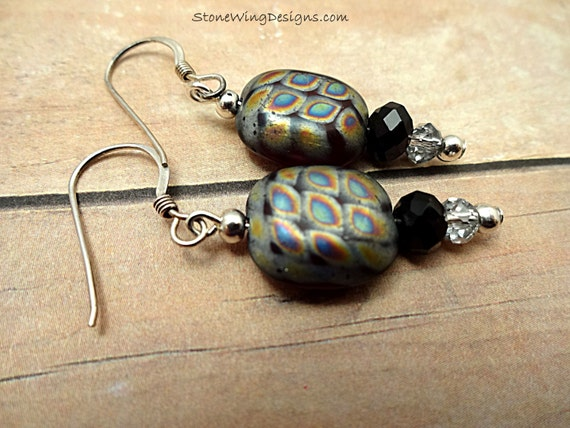 Black, Vitrail and Sterling Silver Earrings