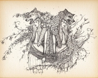 Wolf Girl Gothic Horror A4 Illustration Print
