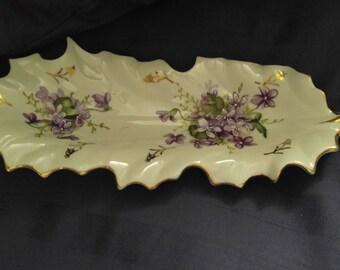 Vintage Porcelain Gold Leaf Dish Plate Tray Original ARNART JAPAN LE # 1027