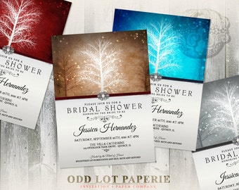 Winter Wonderland Bridal Shower Invitation, Printable Invitation , Printable Digital file, Trees and Snowflakes, Various Colors, DIY Invite