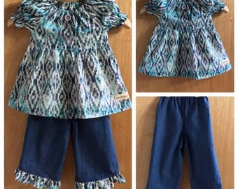 Batik Peasant Top and Denim Ruffle Pants, size 3t