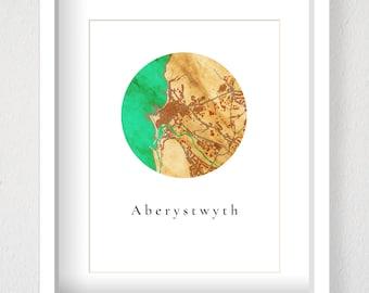 Aberystwyth Map - Fy Myd / My World - Map of Aberystwyth, Cymru, Wales, Map Art Print, Circle Map, Giclee Print, Custom Map