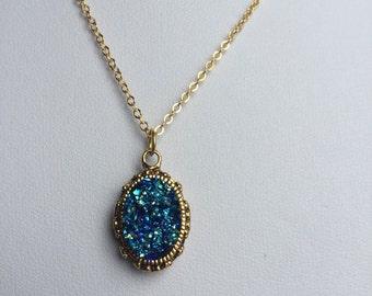 Gold Druzy Necklace, Faux Druzy Necklace, Druzy Pendant, Boho Jewelry, Druzy Necklace
