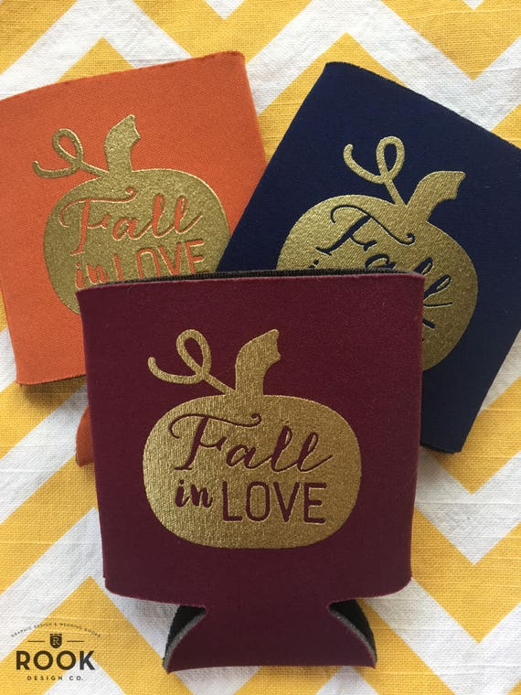 Fall in Love wedding coolers Fall wedding theme beer holders