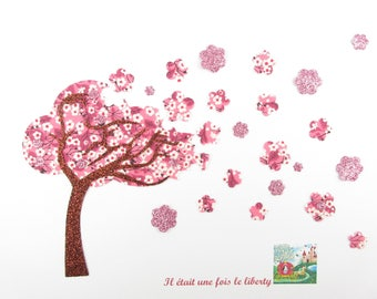"Patch to iron applique tree ""Cherry blossom"" in liberty Mitsi valeria pattern pink fusing fusible applique liberty"