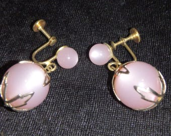Vintage 1950's  Soft Pink Lucite Moonglow Ball Dangle Earrings