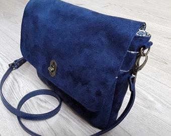 Blue jean colored suede purse