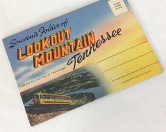 Postcard Souvenir Folder Of Lookout Mountain Tennessee Cline Co. Foldout Vintage