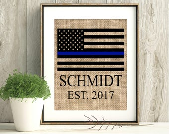 Police officer gift, police officer gifts, thin blue line, thing blue line flag, law enforcement gift, LEO Gift, police academy, burlap prin