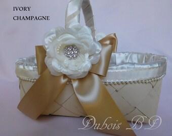 Champagne Flower girl basket, Ivory Flower girl basket, Wedding basket, Wicker basket, Burgundy basket, Navy blue basket, rustic basket