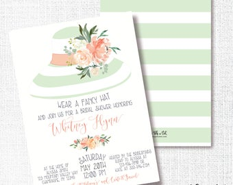 Wear A Hat Bridal Shower Invitation, Printable, Hat Tea Party, Bridal Brunch Invite, Wedding, Luncheon, Mint, Peach, Watercolor Floral