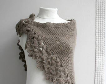 Brown Knitted Capelet Shawl Mothers Day Gift