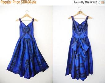 Vintage 1950s Blue Plaid Tartan Dress Bow Back Cobolt Full Skirt Drop Back Party Prom