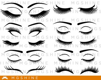 Lashes SVG cutting files for Cricut and Silhouette Cameo - Lashes png clipart - Lashes dxf vector files lashes vector - TS8