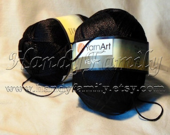 Yarnart pearl natural viscose yarn. Black color (F107) DSH